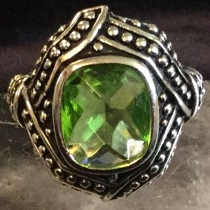 Peridot and Silvertone Ring